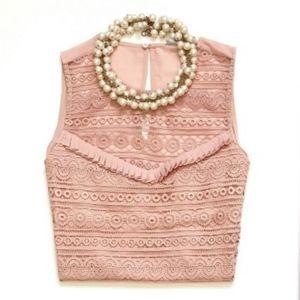 H&M Blush Pink Crochet & Ruffle Blouse
